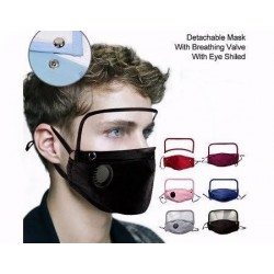 Face Mask with Breathing Valve and Eye Shield
