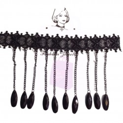 Black Lace Choker with Beads