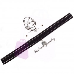 Black Lace Choker with Charm