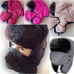 Weatherproof Faux Fur Lining Winter Hat & Mask Set