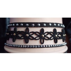 Black Lace Faux Suede Studded Choker Necklace
