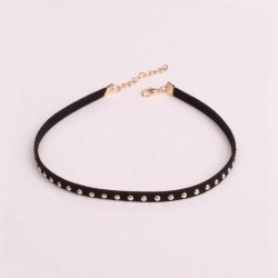 Black Faux Suede Studded Choker Necklace
