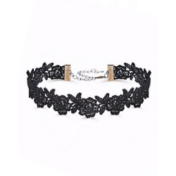 Black Floral Lace Choker Necklace