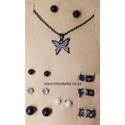 Earrings, Rings and Necklace Jewellery Set - Black